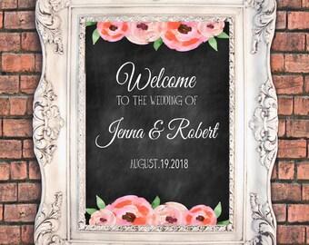 Chalkboard wedding welcome sign Flowery poppies 20x30 inch