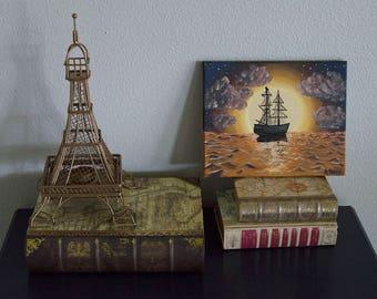Ship Sailing into Sunset Painting 8 x 10