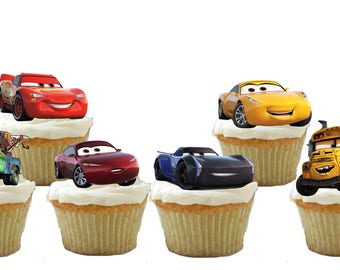24 Cars 3 Cupcake Toppers