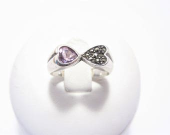 Vintage Sterling Amethyst Heart Ring Sterling Size 5.75