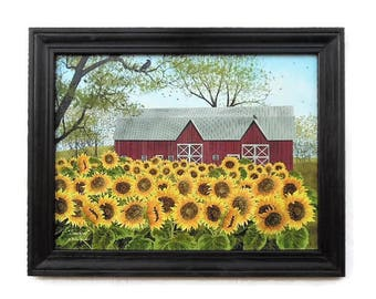 Sunflowers, Barn, Billy Jacobs Sunshine, Art Print, Country Home Decor, Primitive Decor, Handmade, 28X22, Custom Wood Frame, Made in the USA