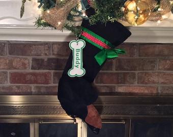 Dachshund Christmas Dog Stocking, Personalized Dog Stocking, Monogrammed Dachshund stocking, dog stocking, Personalized Christmas Stocking,