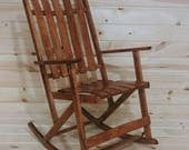 RESERVED FOR BARBARA Wood Folding Slat Rocking Chair Made in Canada