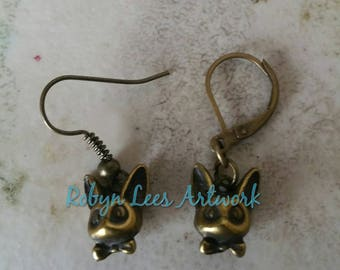 Very Small Bronze Cat Fox Chihuahua Dog Head Charm Earrings with Bow Ties on Bronze Earring Hooks or Leverbacks