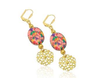 Rainbow turquoise gemstone earrings, Christmas gifts for girlfriend, Vintage style earrings, Christmas gifts for mom, Birthday gift for mo ,