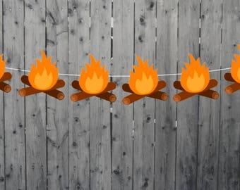Fire Garland, Camping Garland, Camp Fire Garland, Camping Banner, Camping Decorations, Camping Photo Prop