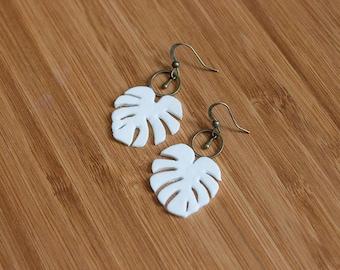Tropical leaf white  EARRings