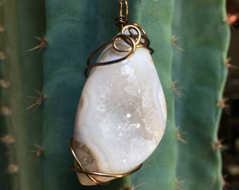 Hand Wire Wrapped White Druzy Quartz Crystal Pendant Necklace