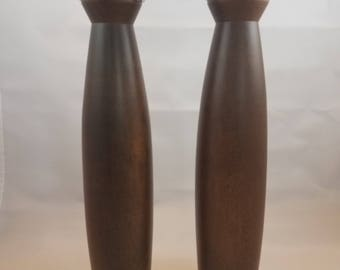 Mid Century Modern Tall, Walnut Salt Shaker and Pepper Grinder