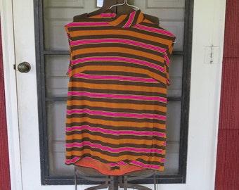 "Vintage 1960s knit tank top mod brown orange pink yellow stripes back zipper 36"" bust 38"" hips (101216)"