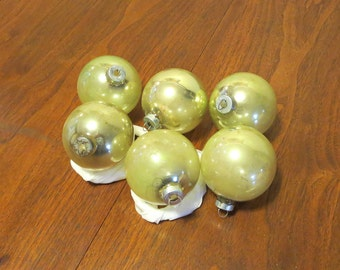 "6 vintage 1950s gold glass Christmas tree ornaments decorations 2 1/2"" diameter made in U.S.A."