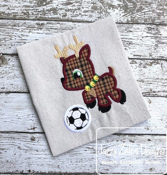 Reindeer playing soccer appliqué embroidery design - Christmas appliqué design - reindeer appliqué design - boy appliqué design - girl