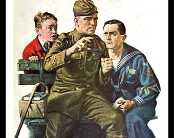 Norman Rockwell Art Print, Story of the Lost Battalion, Classic 1919 Illustration, World War I, Military Veterans