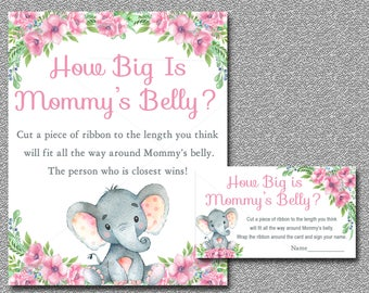 Pink Elephant How Big Is Mommy's Belly Game / Elephant Baby Shower / Girl Baby Shower Game / Belly Guessing Game / INSTANT DOWNLOAD 006