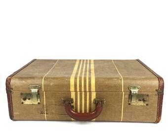 Vintage 1940s Luggage Suitcase Brown Tweed Suitcase Vintage Tweed Suitcase Leather Luggage Suitcase Tweed Suitcase 1940s