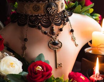 Victorian Steampunk Choker, Gothic Choker, Steampunk Jewelry Necklace, Octopus Key Necklace Jewelry