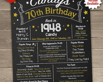 70th Birthday Chalkboard, 1948 Birthday Poster, Back in 1948, 70th Birthday Centerpiece, 70th Birthday Gift, Printable Sign for DIY printing
