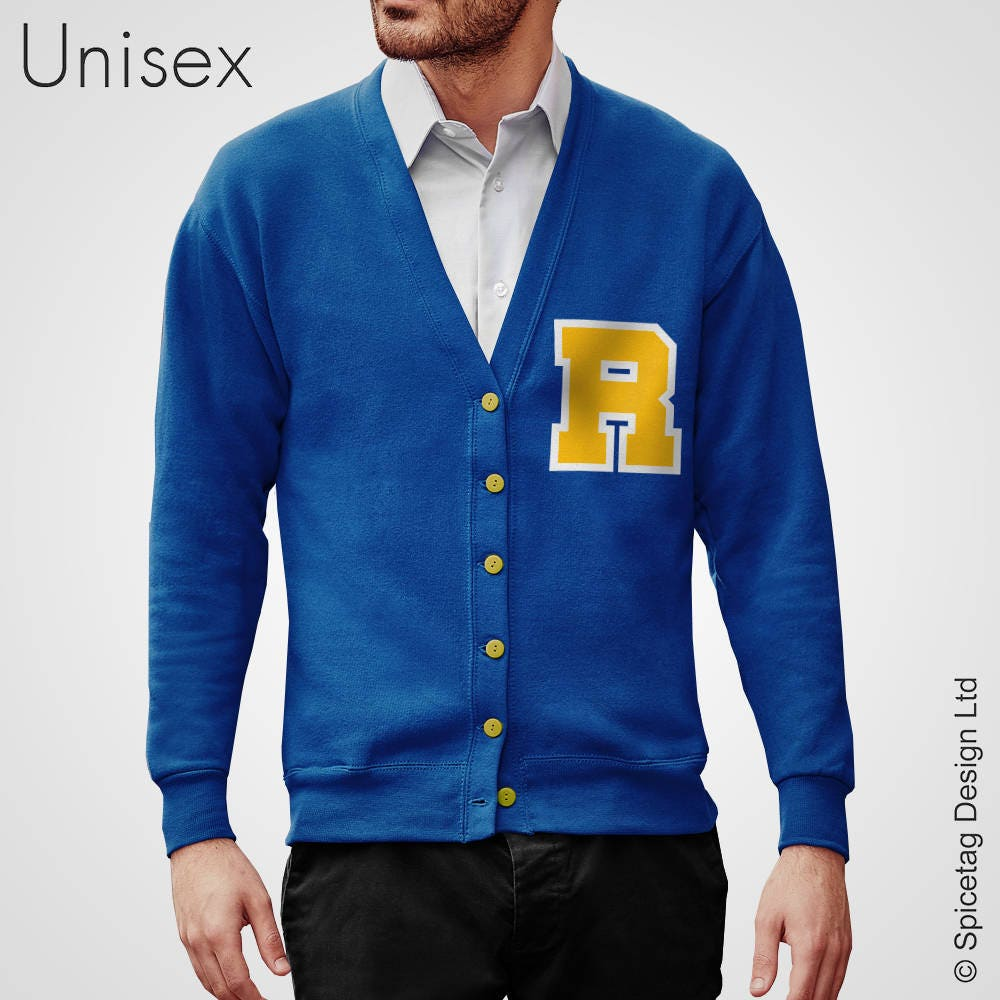 Royal Blue Cardigan with Yellow Letter and White Outline