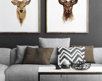 Deer Painting Two Deer Male Illustration set 2 Prints, Deer Illustration Watercolor Giclee Fine Art Print, Wildlife Living Room Wall Decor
