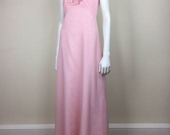 floaty pink polka dot maxi dress w/ ruffled halter neck 70s