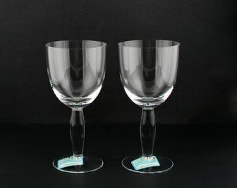 NEW Noritake Colorwave Clear Water Goblets Stemware 952 109 Set of 2 by EraCetera