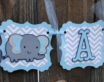 It's a boy elephant banner - It's a boy banner - elephant themed baby shower banner - blue grey elephant banner - It's a boy  sign