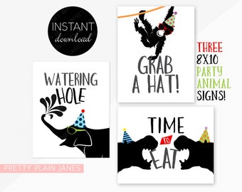 INSTANT DOWNLOAD Party Animal Signs | 8X10 Party Signs | Party Animal Birthday Decor | Zoo Birthday Signs
