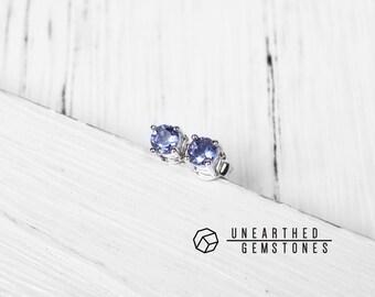 Genuine Tanzanite Earrings - December Birthstone Earrings, Sterling Silver Gemstone Earrings, Stud Crystal Earrings