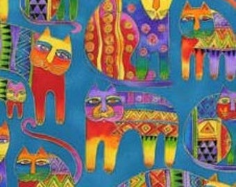 Laurel Burch Fanciful Felines OOP Fabric #90343-4M