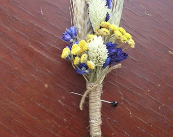 Rustic Wedding Boutonniere Man's Wedding Buttonhole Spring Summer or Fall Boutonniere for Groomsmen Woodland  Rustic Wedding