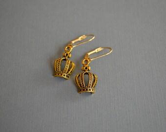 Gold Metal Crown Earrings, Minimalist Crown Earrings, Metal Earrings, Vintage Style Earrings, Boho Earrings, Gift For Her, Earrings Under 10
