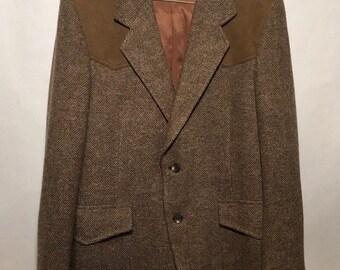 Pendleton Wool Tweed Blazer Jacket Herringbone Suede Elbow Patch & Yoke Western Men's 38 USA