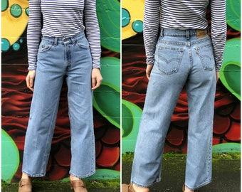 "Levis Orange Tab Jeans / Straight Wide Leg High Rise Vintage Denim / 25"" Waist XXS"