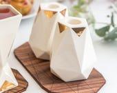 Pair of candlesticks, white ceramic with 24K gold geometric pattern , Shabbat candle holders, modern Judaica