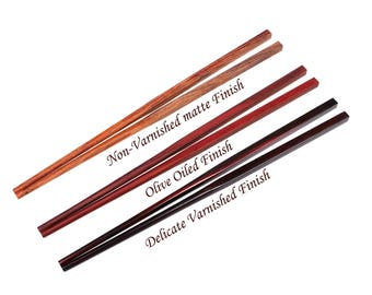 5 Pairs Red Rosewood Chopsticks in Classic Chinese Style with 3 Finish Options