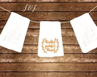 Thankful grateful blesed dish towel gift flour sack towel