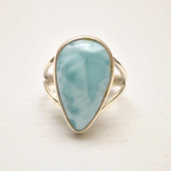 Sterling Silver Larimar Teardrop Ring Sz 6  #9350