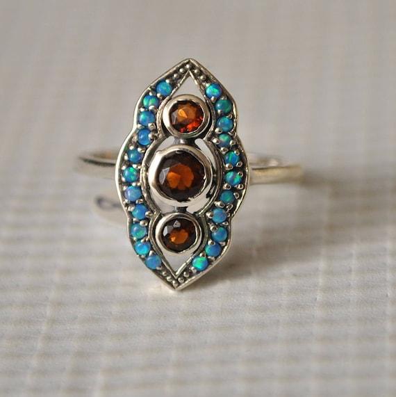 Sterling Silver Fire Garnet Opal Edwardian Ring Sz 8 #9827