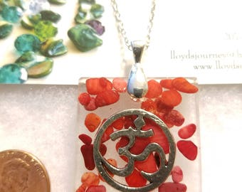 Om Charm Pendant with Coral