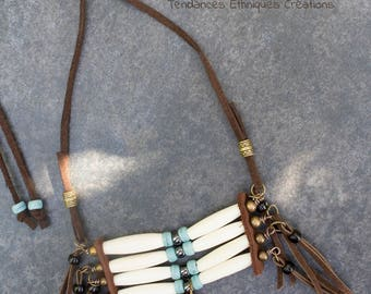 "Necklace native american ethnic pearl  ""Keme"""
