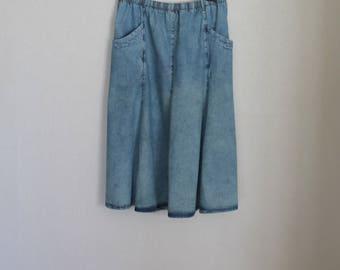 Vintage Acid Wash Skirt Blue Denim High Waisted Jean Skirt  Elastic Waist Long Skirt Plus Size