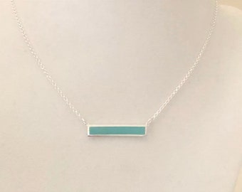 Turquoise Magnesite Sterling Silver Bar Necklace Summer Beach Cruise Wear You Select Necklace Length