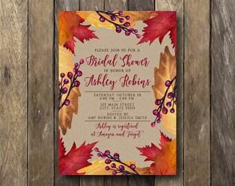 Fall Bridal Shower Invitation - Printable Bridal Shower Invite