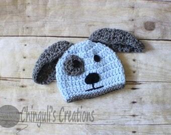 Crochet Puppy Baby Hat Newborn Puppy Beanie Crochet Doggy hat Light Blue Gray Puppy hat Crochet Newborn Puppy OUtfit
