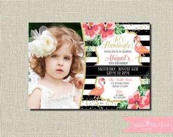 Flamingo Birthday Invitation, Flamingo Invitation, Floral Flamingo Invitation, Black and White Flamingo Invitation, Flamingo Party, Glitter