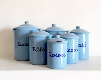 French Vintage Enamel Canisters - French Kitchen Canisters - French Enamelware Canisters - Vintage Canister Set of 6 - French Blue Enamel