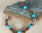 Women's link Bracelet - Size small to medium - Turquoise - Handmade Copper Metal Artisan Jewelry