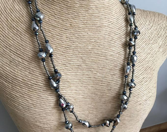 Downton necklace -  glass beads, mixed with faceted black glass beads, and crystal beads - Silver sparkle
