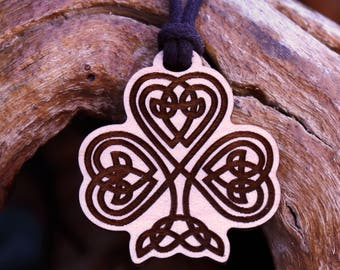 Celtic Shamrock Pendant Necklace - Laser Cut Homeade Engraved Women's Jewelry Gifts Symbol St. Patrick's Day