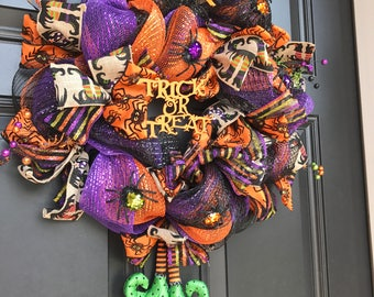 Witches & Spiders Halloween Mesh and Ribbon Wreath